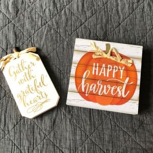 Season of fall wooden signs